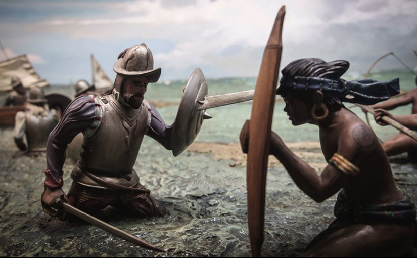 Magellan's forces fight those of Lapu-Lapu in the Battle of Mactan, 1521. Photo of the Ayala Museum history dioramas.