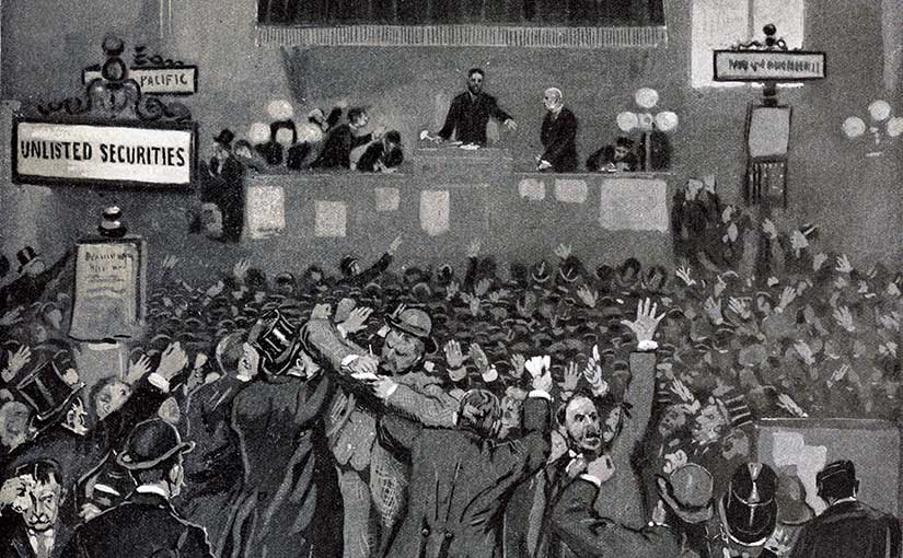 May 5, 1893: panic on the stock exchange as captured in Leslie's Illustrated Newspaper.