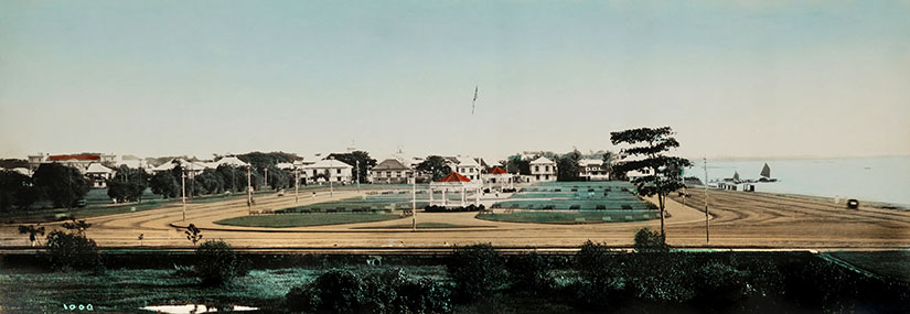 Colorized photograph of the Luneta provided as Sugar Sun series location by author Jennifer Hallock