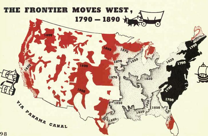 Out-of-copyright map of the American frontier.