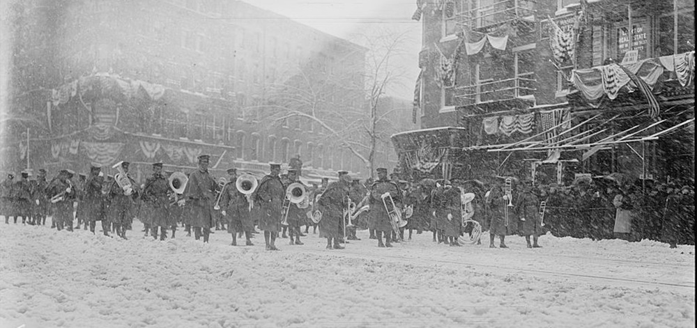 The band in the March 1909 blizzard inauguration of President William Howard Taft.