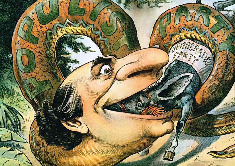 An 1896 Judge cartoon shows William Jennings Bryan and his Populism as a snake swallowing up the mule representing his own Democratic party. Courtesy of [Wikimedia Commons].