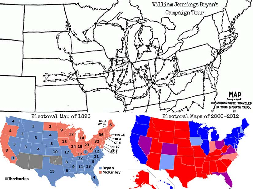 At bottom, a comparison of electoral maps from 1896 [Wikimedia Commons] and 2000-2012 [Wikipedia]. At top, the campaign trail of William Jennings Bryan [The First Battle].