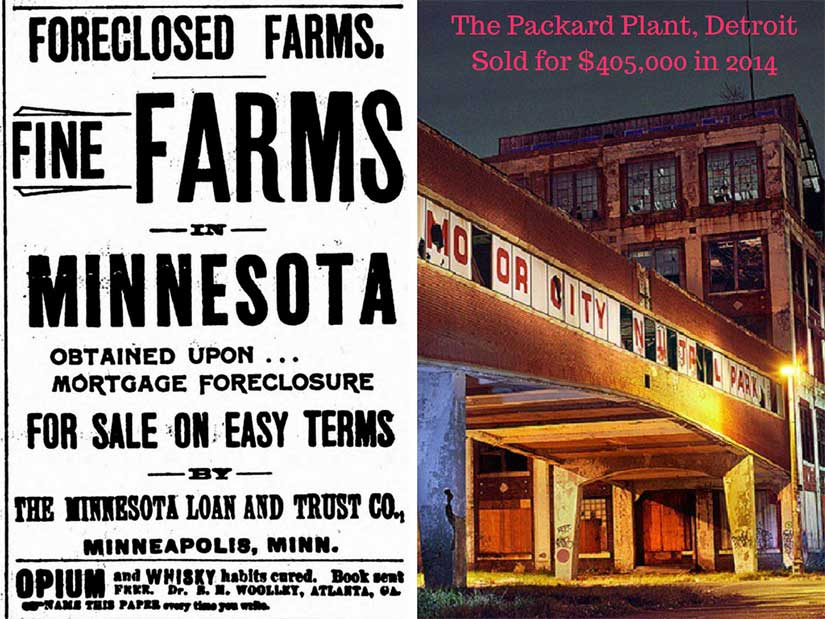 A comparison of 1893 and 1983 structural change, with farms dying to pave the way for industrialism in 1890s [The Worthington Advance], and then those same factories dying in the 1980s [Ben Wojdyla].