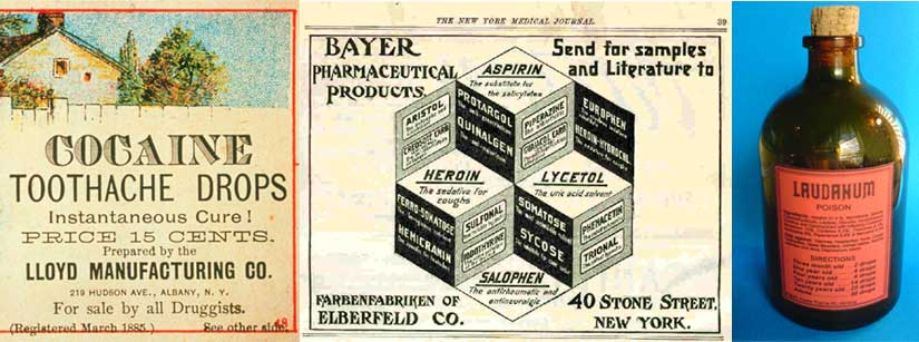 A smattering of Edwardian remedies, courtesy of The Telegraph, ProCon.org, and Wikimedia Commons.