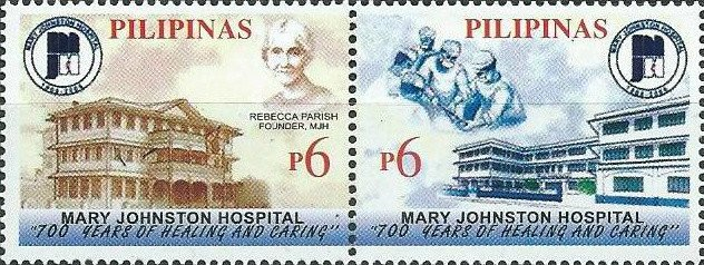 Philippines stamp commemorating the centennial of Parrish's creation, the Mary Johnson Hospital. Image courtesy of Colnect stamp catalog.