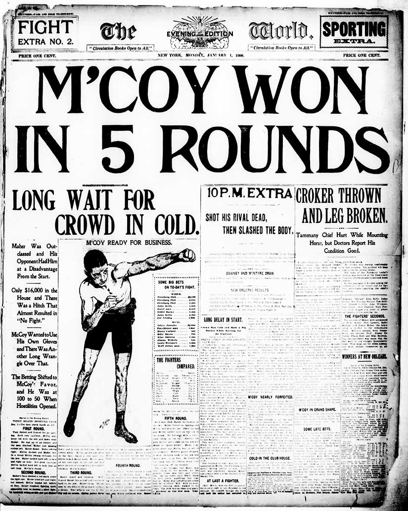 """M'Coy Won in Five Rounds"" because ""Maher was outclassed."" Even in 1900, sports dominated some papers. From the New York Evening World."