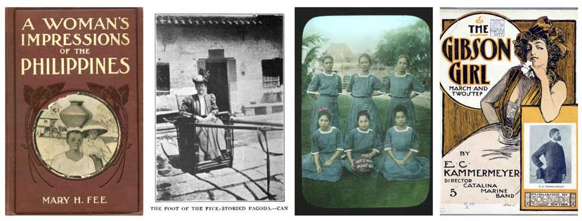 From left to right: the cover of Mary H. Fee's memoir (from the New York Society Library); a portrait of Annabelle Kent in China (from her book Round the World in Silence); the legacy of Rebecca Parish as seen through a nurses' basketball team for the Mary Johnston Hospital in 1909 (print for sale on eBay); and the classic Gibson girl image on a music score (courtesy of the Library of Congress).
