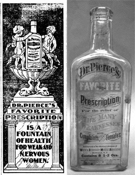 An advertisement and bottle of Dr. Pierce's Favorite Prescription. Images courtesy of the Library of Congress and the Committee for Skeptical Inquiry.