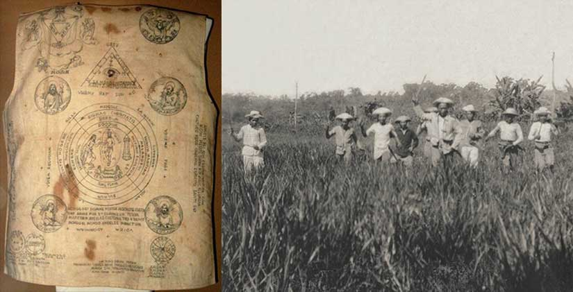 A Samareño Pulahan amulet jacket from the 1890s, along with a rare photo of Pulahans on the attack.