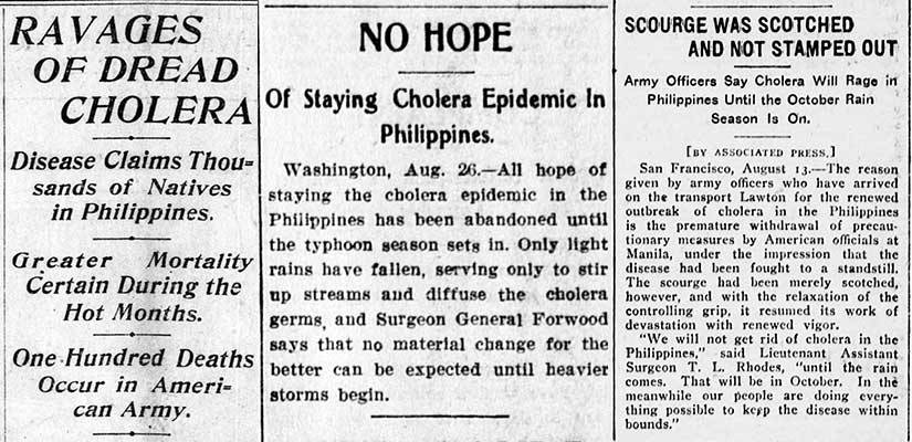 Cholera epidemic in American colonial Philippines in Gilded Age