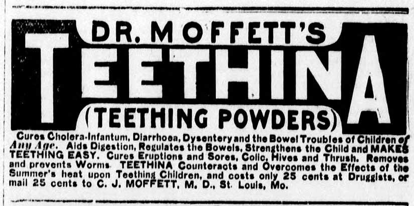 Opium children teething powder cure cholera dysentery Edwardian medicine