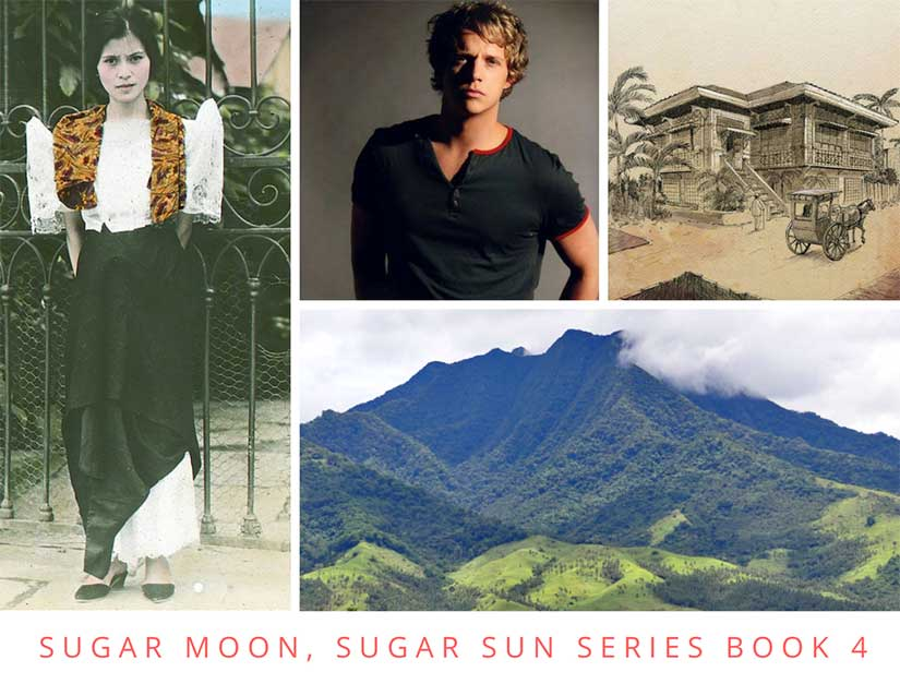 Character board for Sugar Moon upcoming book in the steamy Sugar Sun historical romance series set in the Philippines during the Gilded Age