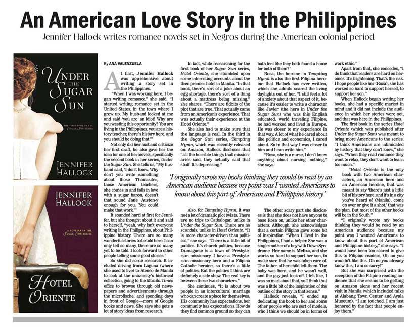 Manila Philippines Bulletin newspaper article on steamy historical romance Sugar Sun series