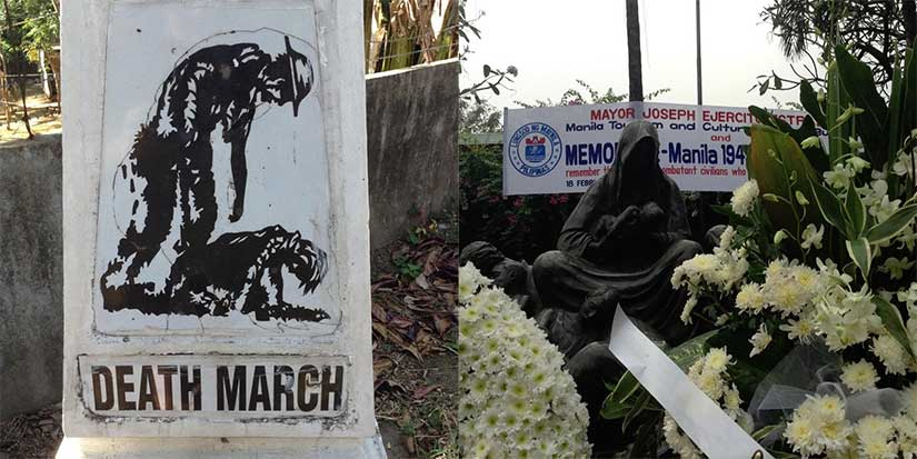 Bataan Death March marker in Philippines and Battle of Manila memorial both from World War II era history research trip
