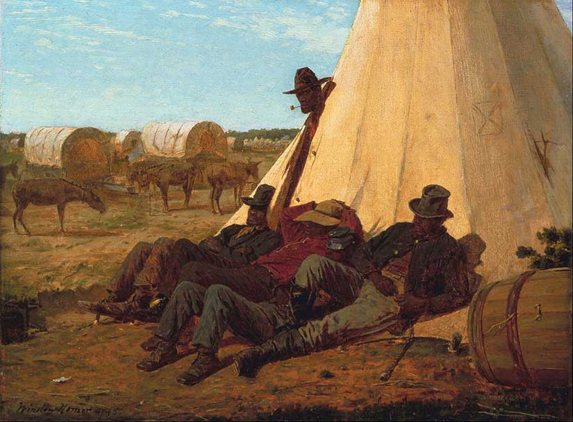 Sibley tents pictured by Winslow Homer used by Ninth Infantry American army in war against Philippines in Gilded Age