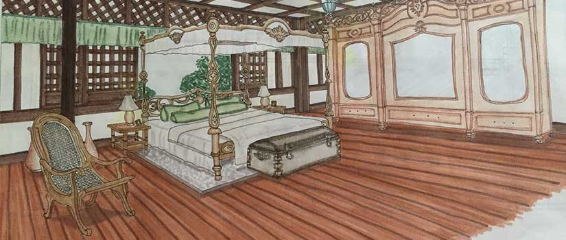 Drawing of antique Philippines bed like in the Sugar Sun meaty historical romance series