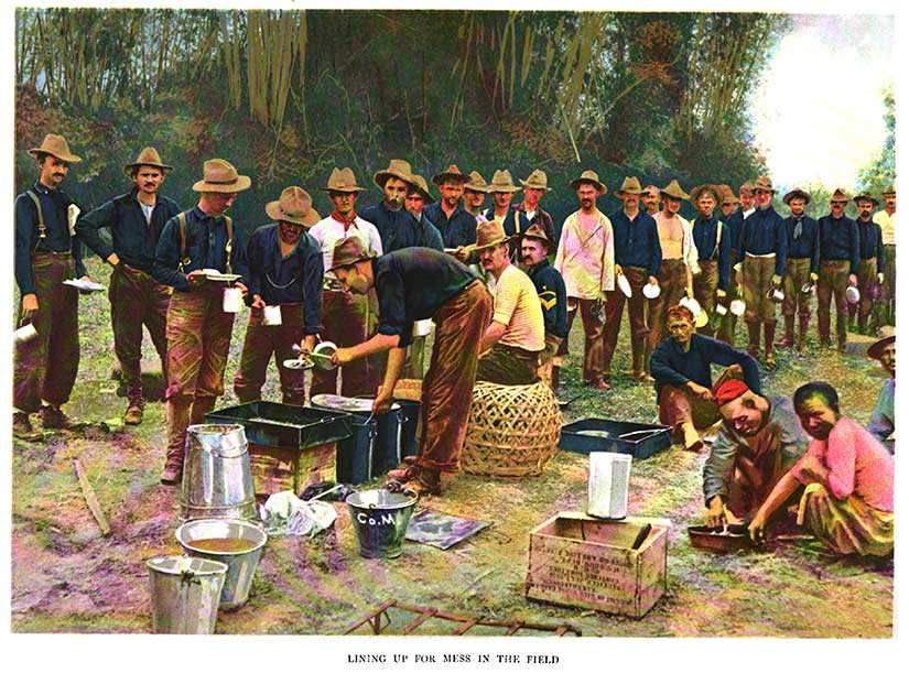 American Army soldiers field mess during war between Philippines and United States in Gilded Age