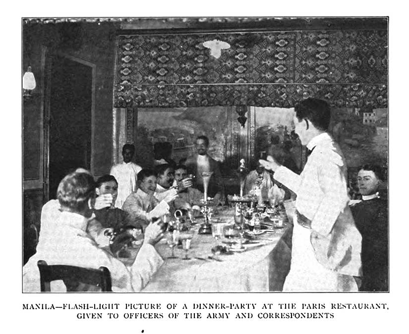 American expatriates navy officers at Paris restaurant in Manila Philippines in Gilded Age colony