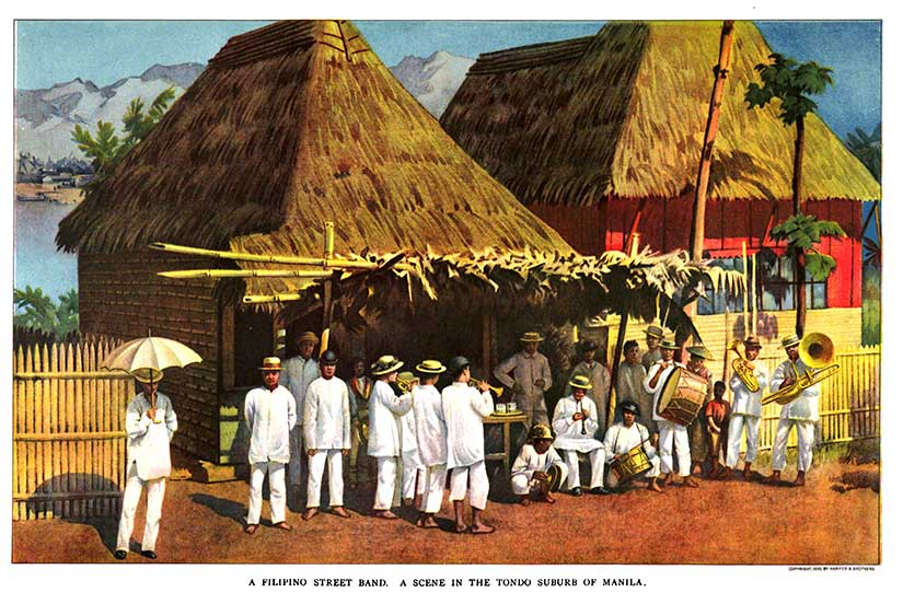 Filipino street band 1900 full color image from Harper's Magazine in Gilded Age American colony