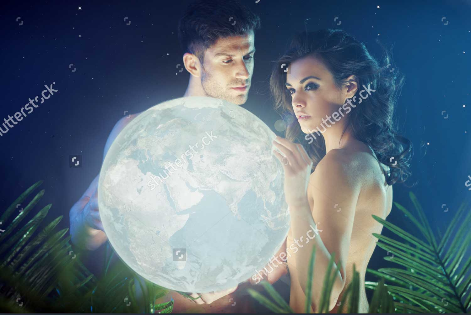 Romantic stock photo of couple in the jungle with a moon from Shutterstock for Sugar Moon spoof Jennifer Hallock steamy historical