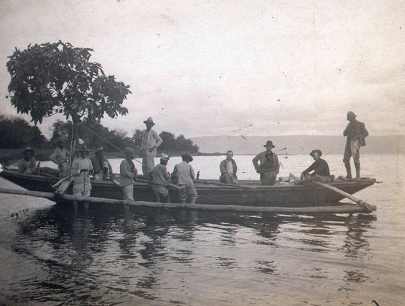Historic image of banca at Taal volcano by University of Michigan as illustrating Sugar Sun steamy historical romance series.