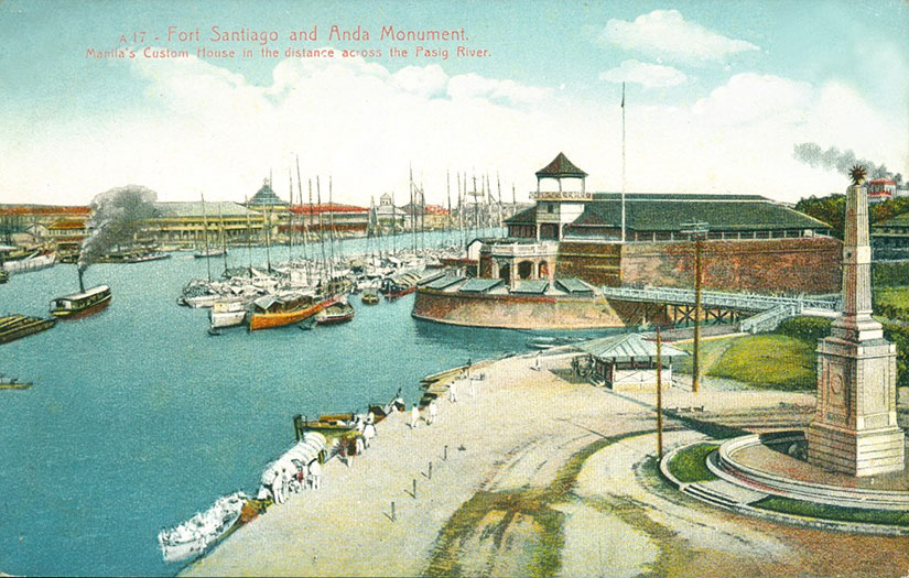 Vintage postcard of Fort Santiago mouth of Pasig River