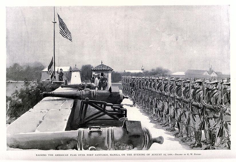 American flag illustration over Fort Santiago after Battle of Manila 1898