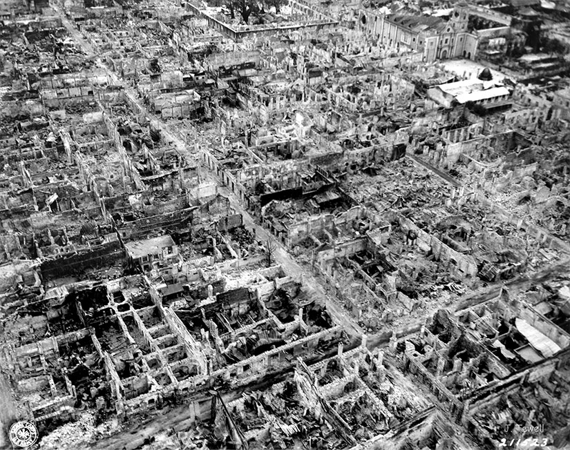 aerial photo of Manila destruction in World War II