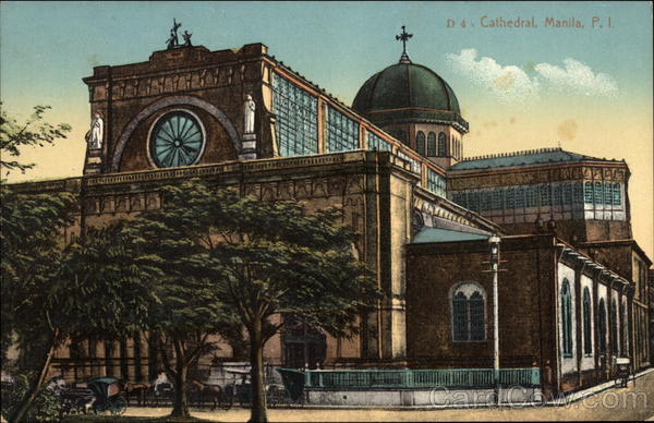 Manila Cathedral vintage postcard in color