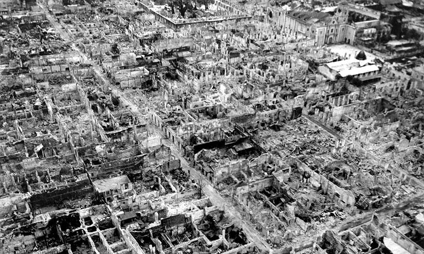 Manila Walled City Intramuros Destruction 1945