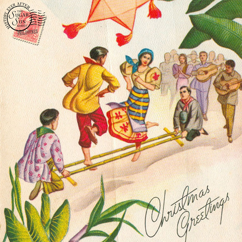 1960s vintage tinikling postcard Christmas Philippines